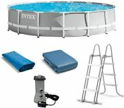 Intex 15andrsquo X 42andrdquo Prism Frame Above Ground Swimming Pool Set And Pool Filter Pump