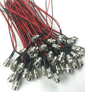 100x 5mm 12v Colorful Pre-wired Led With Chrome Bezel Holder