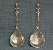 Pair Of Antique European Solid Solid Silver Figural Marriage Spoons