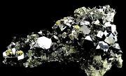 Cluster Of Large Galena Crystal, Chalcopyrite, Pyrite And Quartz 2034