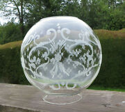 Vintage Cut / Engraved Clear Glass Oil Lamp Globe / Shade - 4 Fitter