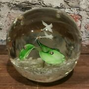 Vintage Glass Paperweight Birds And Bubbles Possible John Gentile