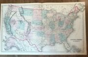 Antique Colored Map - United States Of America - Ca 1876 Gray's Atlas
