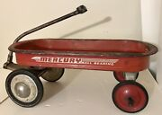 """Vintage 1940s Mercury Metal Child's Red Pull Wagon 33 Long 14"""" Wide 12 High"""