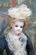 13 Antique Petite French Fashion Doll By Emile Jumeau With Signed Body