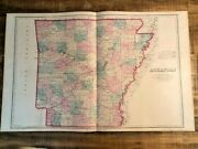 Large Antique Colored Map - Arkansas C 1876 - Frank A. Gray