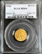 1926 Gold United States 2.5 Indian Head Quarter Eagle Coin Pcgs Mint State 64
