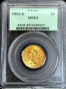 1903 S Gold United States 5 Liberty Head Half Eagle Coin Pcgs Mint State 63 Ogh