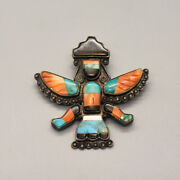 Vintage 1950's Sterling Silver Zuni Stone Inlay Knifewing Pin - Signed Lny