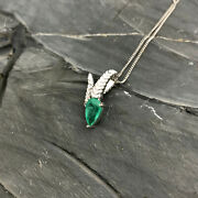 1.35ct Natural Colombian Emerald Serpent Pendant 18k White Gold
