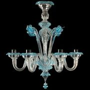Hanging Chandelier Glass Murano Original 6 Lights Clear And Colour