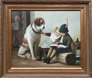 Original Oil Painting By E. Hudson Storytime St. Bernard With Kids 24andtimes30 In