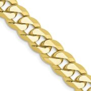 10k Yellow Gold 7.75mm Flat Beveled Link Curb Chain Necklace Pendant Charm Fine