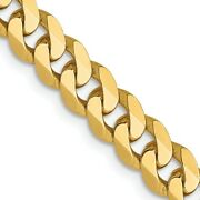 14k Yellow Gold 5.75mm Flat Beveled Link Curb Chain Necklace 22 Inch Pendant