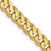 14k Yellow Gold 4.5mm Flat Beveled Link Curb Chain Necklace Pendant Charm Fine