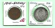Norway - 1914 - 5 Ore And 2 Kroner Coins - Vf+ And Vf
