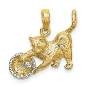 14k Yellow Gold White Cat Playing Yarn In Basket Pendant Charm Necklace Animal