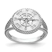 14k White Gold Nautical Compass Rope Band Ring Sea Shell Life Fine Jewelry