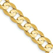 14k Yellow Gold 7.5mm Concave Link Curb Chain Necklace 22 Inch Pendant Charm