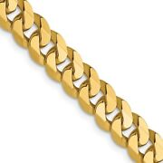 14k Yellow Gold 6.1mm Flat Beveled Link Curb Chain Necklace Pendant Charm Fine