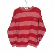 Vintage Izod Lacoste Red Striped Horizontal Rugby Polo T Shirt Long Sleeved Larg