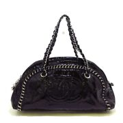 Auth Luxury Line Black Silver Patent Leather Womens Shoulder Bag