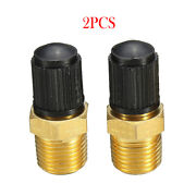 2x 1/8 Npt Mpt Solid Brass Air Compressor Tank Fill Valve Durable For Suv Cars