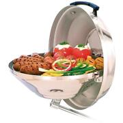 Marine Kettle Portable Charcoal Grill Hinged Locking Lid Stainless Steel 15 In.