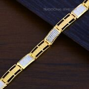 22k Yellow Gold Menand039s Bracelet Beautifully Handcrafted Diamond Cut Design 104