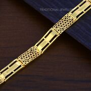 22k Yellow Gold Menand039s Bracelet Beautifully Handcrafted Diamond Cut Design 105