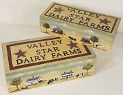 Set Of 2 Valley Star Dairy Farms Primitive Americana Hand Painted Wooden Boxes