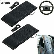 2 Black Lace-on Cover Grip Steering Wheel Stretch Vehicle Auto Classic Accessory