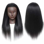18inch 100 Real Afro Human Hair Mannequin Hairdresser Cosmetology Training Head