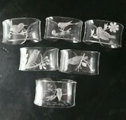Vintage Lucite Napkin Rings With Etched Birds [g064]