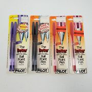 Vtg Purple Black And Red Ink Pilot The Better Ball Fine Point 6 Pens Refillable