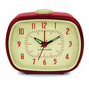 Kikkerland Retro Alarm Clock Red Vintage Old Time Classic Style Hands Glow Dark