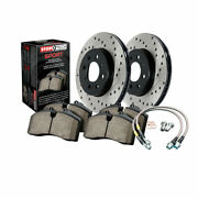 Stoptech Front Brake Rotor And Brake Pads W/ Stainless Steel Lines Sold As Kit