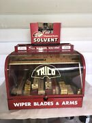 Vintage Trico Wiper Blades Store Display Case W/ Full 6 Pak Trico Solvent Andboxes