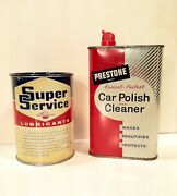 Vintage 1943-63 Prestone Wax And Super Service Oil Old Tin Metal Can Sign Nice