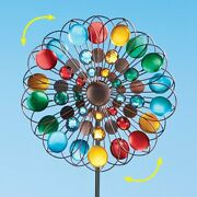 4 Foot Tall Multicolor Sparkling Double Kinetic Wind Spinner Garden Stake