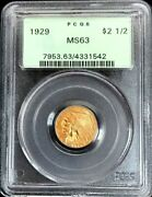 1929 Gold Us 2.5 Dollar Indian Head Quarter Eagle Coin Pcgs Mint State 63 Ogh