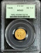 1928 Gold Us 2.5 Dollar Indian Head Quarter Eagle Coin Pcgs Mint State 63 Ogh