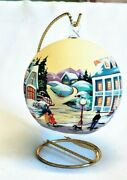 Christmas Glass Ornament Hand Painted With Stand
