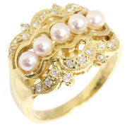 Baby Pearl Diamond Ring D0.22ct K18yg 14 No. Rings Accessories Jewelry Pe