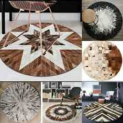100 Natural Cowhide Patchwork Carpet Silky Soft Hair On Leather Cow Hide Rug