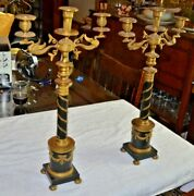 Vintage Pair Classical Candelabra 3 Arm Made In Austria Gilded Bronze