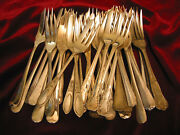 Lot Of 40 Silverplate Mini Pastry Forks Made In England 3 Tine 5 Craft Flatware