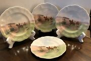 4 Royal Doulton Fox Hunt Porcelain Bread And Butter Plates-going To Covert Signed