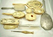 Vintage Art Deco Celluloid And Glass Pearlized Vanity Dresser Set