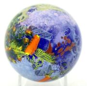 Magnificent Drew Ebelhare Vibrant Aquatic Abstraction Art Glass Paperweight